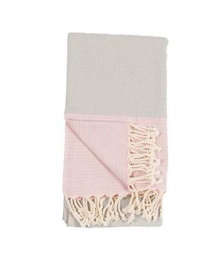 Pokoloko Turkish Towel - Grey & Pink