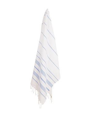 Pokoloko Turkish Towel - White with Blue Stripes