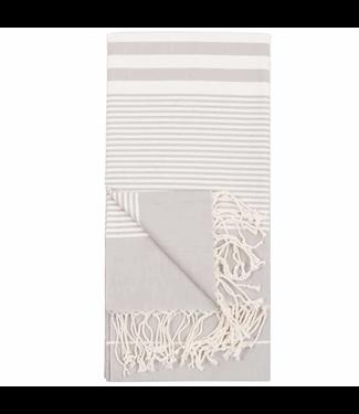 Pokoloko Turkish Towel - Grey with White Stripes