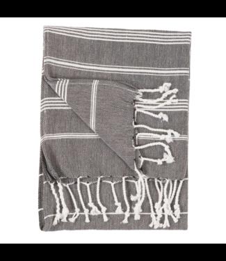 Pokoloko Turkish Hand Towel - Black with white Stripes