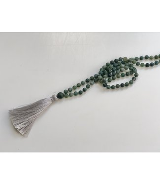 Self-Esteem Moss Agate Mala Necklace