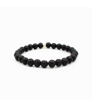 Onyx and Lava Mala Bracelet