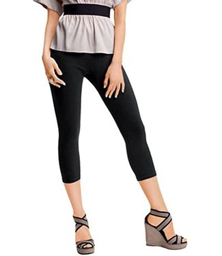 Hue Black Capri Leggings with Wide Waist Band