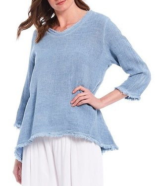 M Made in Italy Linen Blue Tunic
