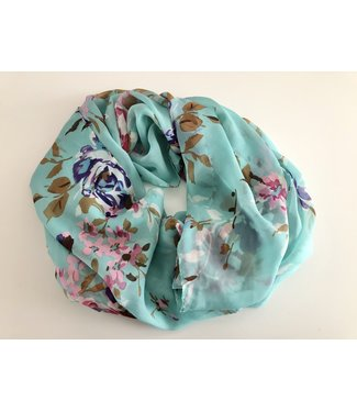 Blue Infinity Scarf With Flower Print