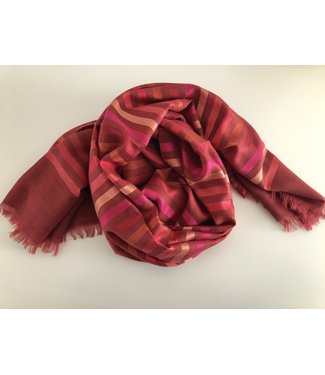 Milo Striped Scarf - Red