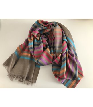 Milo Striped Scarf - Brown