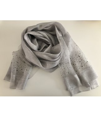 Fraas Grey scarf with rhinestones
