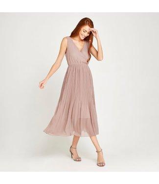 Apricot Chiffon Pleated Dress