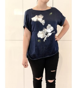 Navy Top with Silver Print