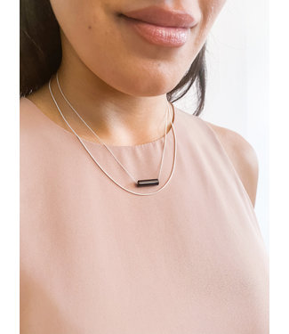 Gold Necklace with Black Tube