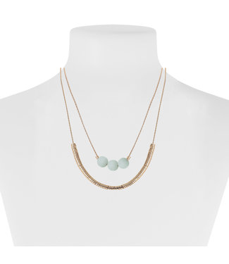 Gold Necklace With Turquoise Beads