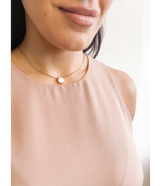 Gold Necklace with Reversible Charm