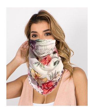 Floral Scarf Mask Magenta