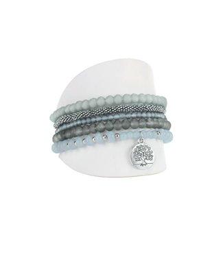 Grey/Silver Bracelet set of 5