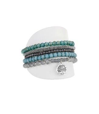 Blue/Silver Bracelet set of 5