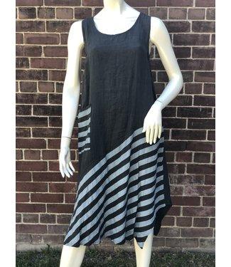 Beyond Capri Charcoal Dress With Stripes