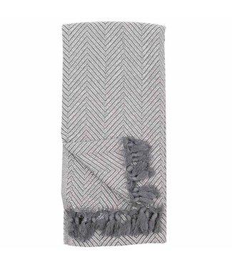 Pokoloko Turkish Towel Fishbone - White Grey
