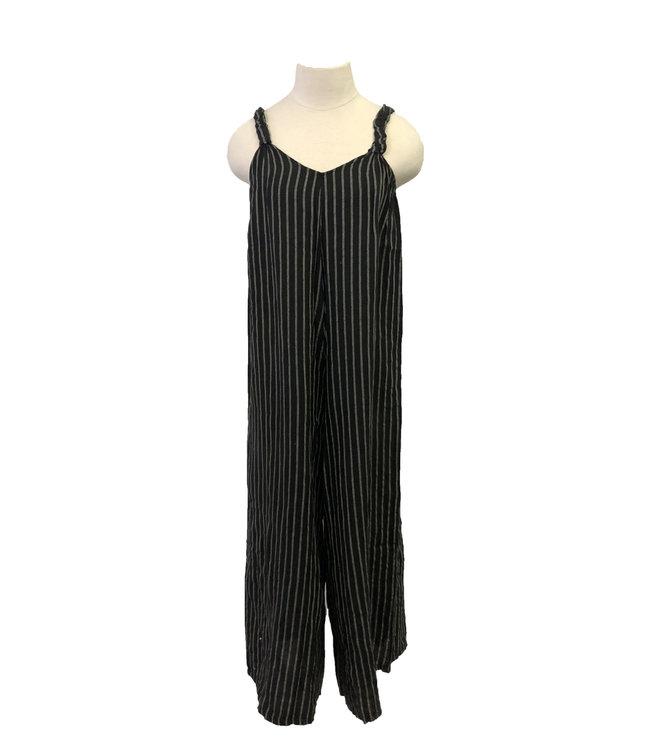 Black Stripped Jumpsuit