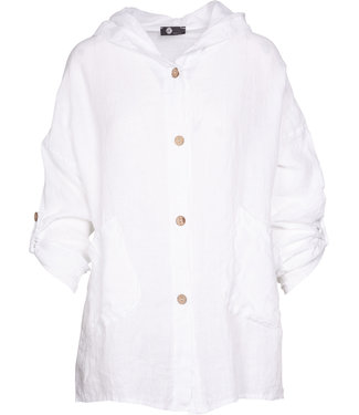 M Made in Italy White Linen Jacket with Hoodie