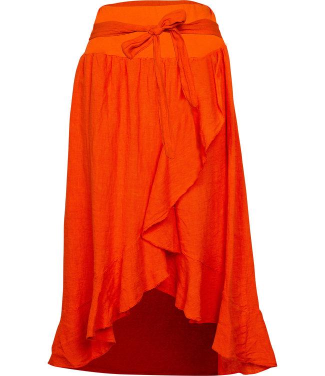 M Made in Italy Orange Linen Skirt
