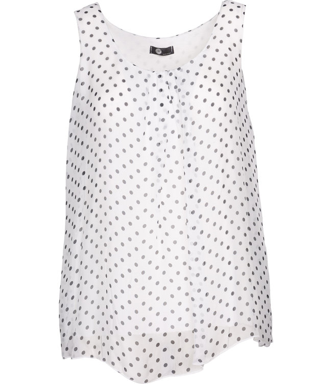 M Made in Italy White Polka Dot Top