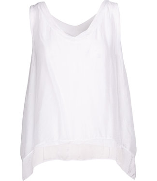 M Made in Italy White Asymmetric Top