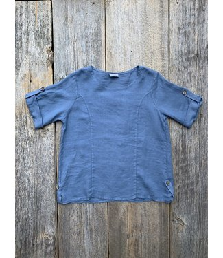 Pure Venice Linen Blue Basic Top **