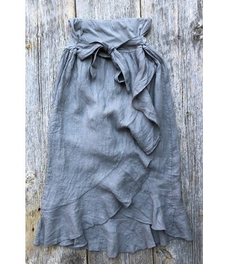 M Made in Italy Taupe Linen Skirt