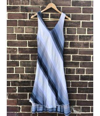 Angela Mara Bias Cut Dress - Blue and White