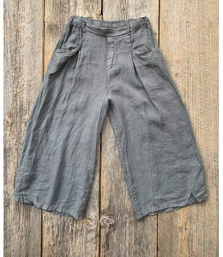 Linen Ankle Pants - Pearl Grey