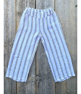 Linen Pants - with blue and taupe stripes