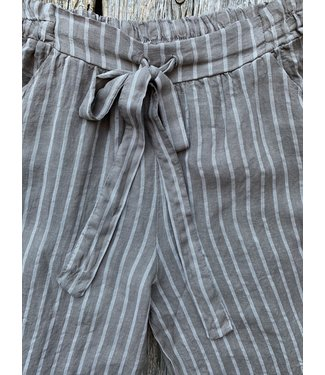 Stripped Linen Pants - Sand