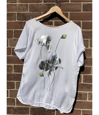 Angela Mara White Top with Silver Print