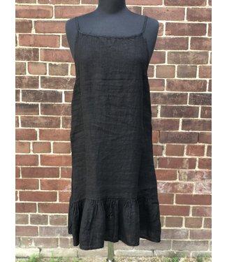 Angela Mara Black Linen Dress