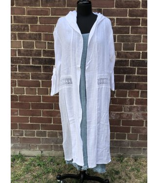 Pure Venice Long Open Jacket With Hoodie