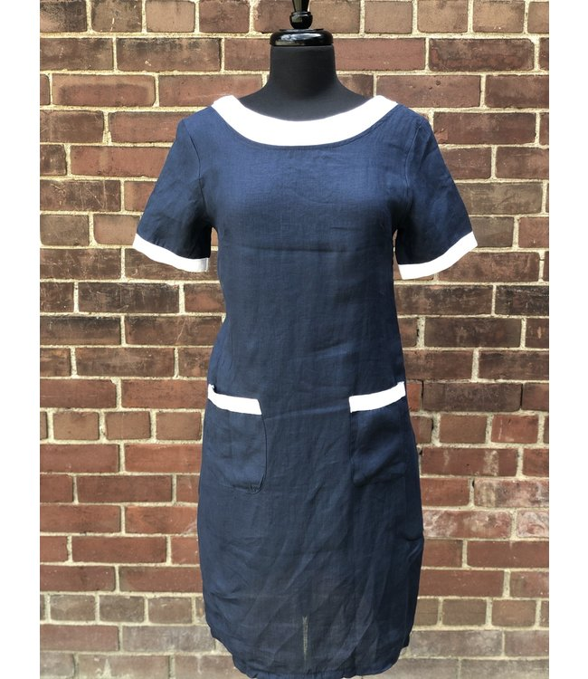Pure Venice Navy Dress with Contrasting Collar **