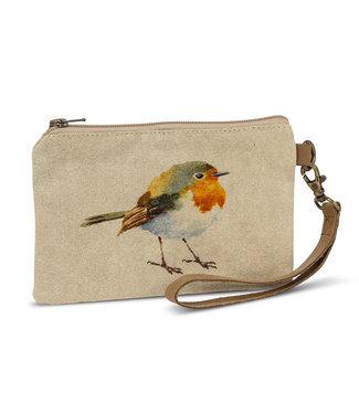 Bird Zip Pouch with Strap