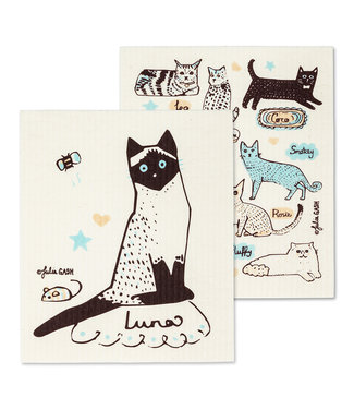 Cats and Names Dishcloth - Set of 2