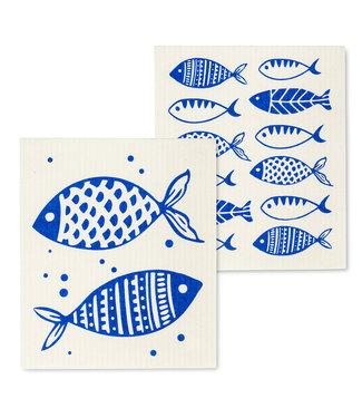 Blue Fish Dishcloth - Set of 2