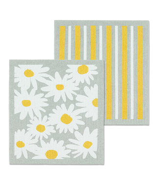 Daisies and Stripes Dishcloth - Set of 2