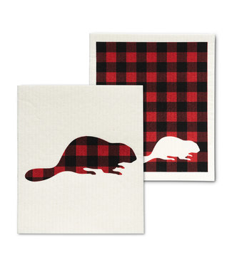 Check Beaver Dishcloth - Set of 2