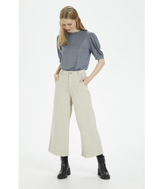 Cream Culotte Trousers - Feather Beige