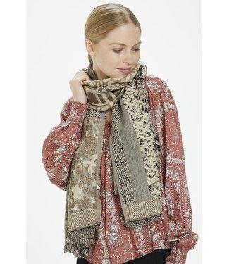 Cream Taupe animal print scarf