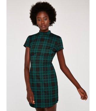 Apricot Plaid Knit Jacquard Dress - Black