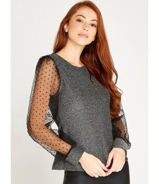 Apricot Glittered Sheer Puff Sleeve Top