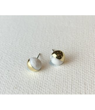 Scout Dipped Stone Stud Earrings - Howlite/Gold