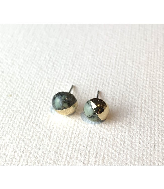 Scout Dipped Stone Stud Earrings - African Turquoise/Gold