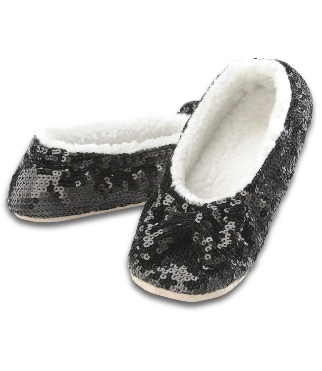 Snoozies Black Sequin Slippers