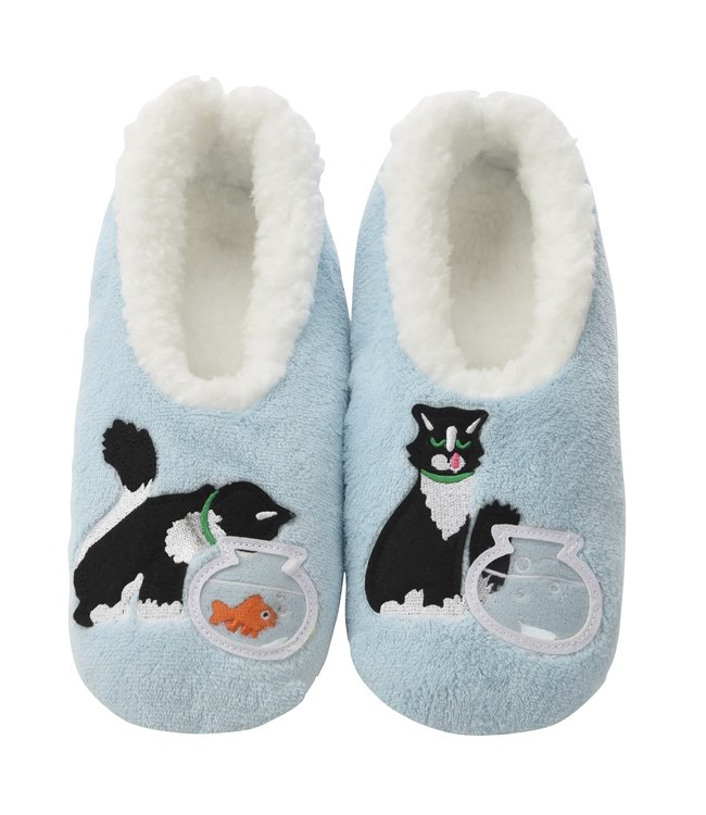 Snoozies Slippers - Blue Cat